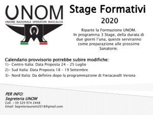 Stage Formativi UNOM – RINVIATI CAUSA COVID-19